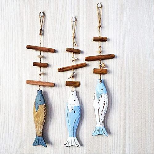 Boyigog Maritime Deko Fische Hängedeko, 3 Hänger Fisch mit Schnur zum Aufhängen Deko Holz, Holzdeko Fensterschmuck Türschmuck Holzschmuck Fische