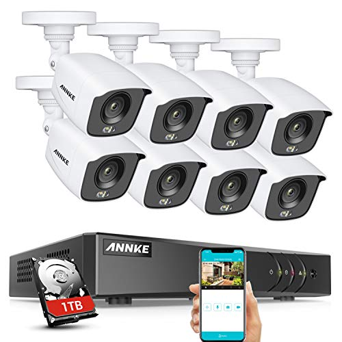 ANNKE 8CH 5MP H.265+ DVR, 1080P True Color Night Vision CCTV Camera System, 1TB Hard Drive, 8X 2.0MP HD Weatherproof Outdoor Security Bullet Camera, Smart Array LEDs, Remote Access, Easy DIY