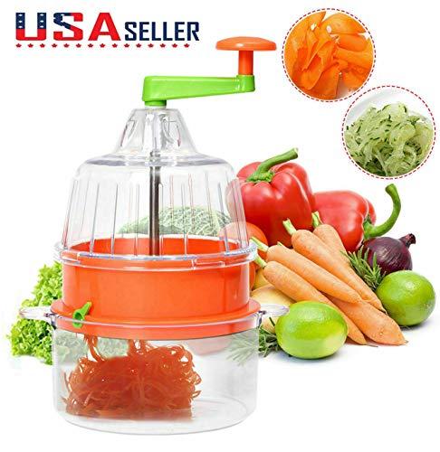 Multifunctional Manual Spiral Plastic Vegetable Slicer Fruit Cutter Kitchen Tool by Superjune