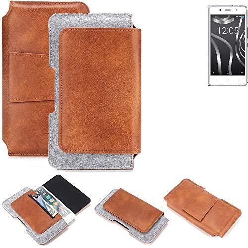 K-S-Trade® Schutz Hülle Für BQ Readers Aquaris X5 Plus Gürteltasche Gürtel Tasche Schutzhülle Handy Smartphone Tasche Handyhülle PU + Filz, Braun (1x)