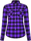 DOKKIA - Camisa de franela casual para mujer, de manga larga, a cuadros, vestido de trabajo, blusas Púrpura...