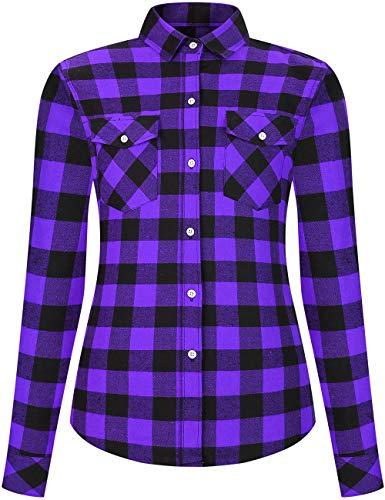 DOKKIA Women's Flannel Shirt Casual Tops Dress Long Sleeve Buffalo Plaid Work Blouses Jacket (Small, Two Pocket-Purple Black Buffalo)