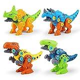 WSZMD Juguetes De Modelo De Dinosaurio Montado, 4 En 1 DIY con Destornillador Tyrannosaurus Rex, Triceratops, Unicornio, Conjuntos De Modelos Ensamblados De Velociraptor,4 in 1