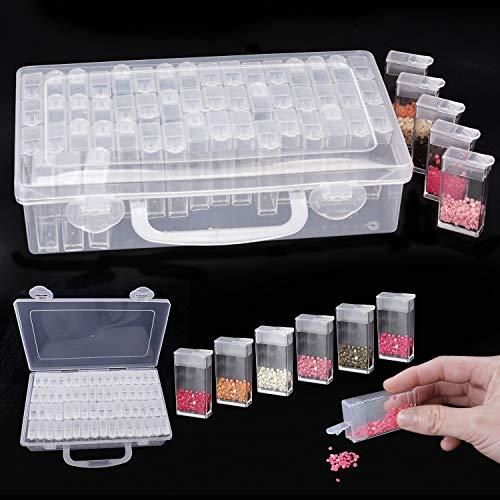 JUSTDOLIFE Caja De Almacenamiento Caja De Pintura De Diamante 64 Rejillas Mini Caja De Bordado De Diamante PortáTil Almacenamiento De Cuentas