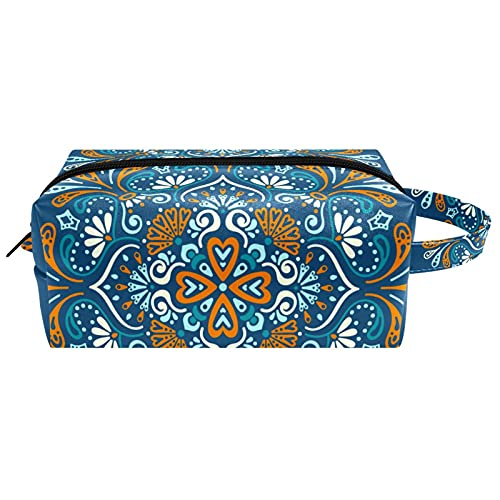 Bolsa de aseo para colgar artículos de papelería cosméticos organizador bolsa portátil estuche de lápices ancla velero peces rayas patrón