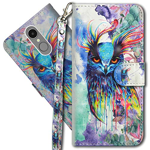 MRSTER LG K8 2017 Handytasche, Leder Schutzhülle Brieftasche Hülle Flip Hülle 3D Muster Cover mit Kartenfach Magnet Tasche Handyhüllen für LG K8 2017. YX 3D - Colorful Owl