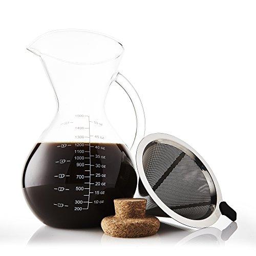 Apace Living SultryBrew Pour Over Kaffeebereiter inkl. Kaffeeschaufel und Korkdeckel Eleganter Handfilter für Filterkaffee mit Glaskaraffe & Permanentfilter aus Edelstahl (1500 ML)