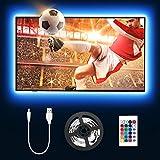 LE 2M LED Tira de Luz TV, Tira de luz USB con Control Remoto RF, 5050 RGB, Cambio de Color, Iluminación Regulable de Polarización para Monitor de PC de TV de 32-65 Pulgadas (4 x 50 cm Tira LED)
