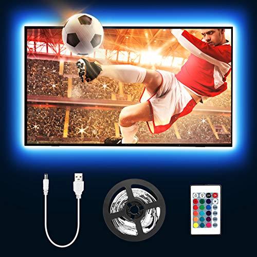 Tira LED TV 2M, Lepro Luces LED TV con Control Remoto RF, Tiras LED USB 5050, 16 RGB Colores y 4 Modos Regulable, Retroiluminacion LED de TV para Hogar, HDTV/PC Monitor 32-65 Pulgadas (4 x 50 cm)