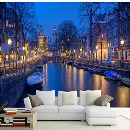 Fotobehang Blauw Wallpaper Amsterdam Nederland Canal City Street Night View Wallpaper 3D Foto Mural muurschildering 300x210cm