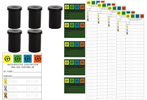 geo-versand 5er Set - Komplett Geocaching Versteck Set Paket Filmdosen wasserdicht Geocache