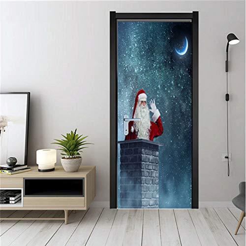YALINA Pegatinas navideñas en Las Puertas, Papel Tapiz de PVC para despegar y Pegar, diseño del hogar, póster Impermeable, calcomanías de Pared de Papá Noel