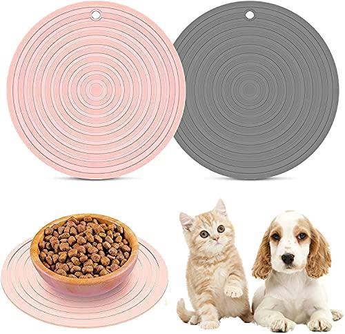 Napfunterlage Hund Katzen, Silikon Fressnapf Unterlage für Hundenapf Katzennapf, wasserdichte rutschfeste Wassernapf Futtermatte Futternapf Unterlage 2 Stücke