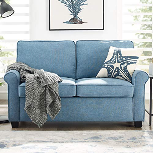 Mainstay Sofa Sleeper with Memory Foam Mattress | No-Tool Easy Assembly, Light Blue (Blue)