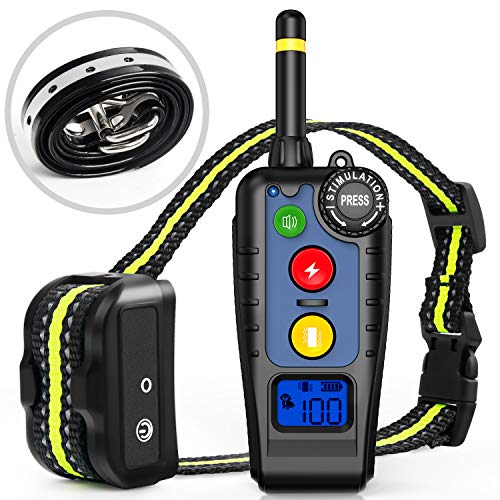 Newest Shock Collar for dogs,Training Collar with Remote,Dog Shock Collar Rechargeable Electronic Bark Collar 3 Training Modes Long Range 2000FT, IPX7 Waterproof E-Collar for Small Medium Large Dogs