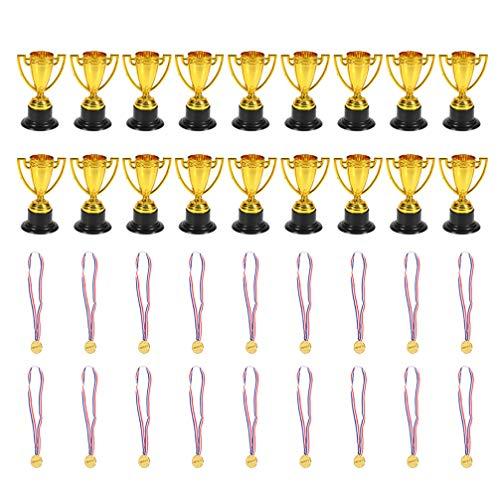 Amosfun 36 Pezzi trofei di plastica medaglie per Bambini bomboniere premi premi Oggetti di Scena Oscar Tema Decorazioni tornei competizioni Giocattoli di apprendimento precoce