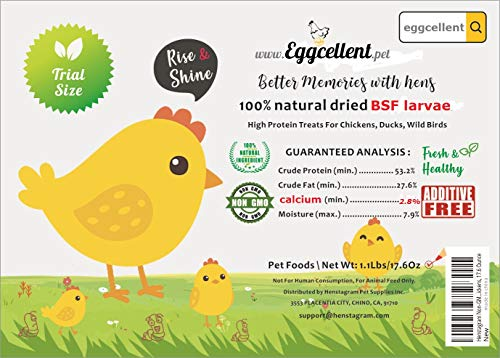Eggcellent 16 Ounce Natural Dried Black Soldier Fly Larvae, 90X Calcium More Than Mealworms, Poultry Feed with More Balanced Calcium Fortified for Laying Eggs of Chicken, Birds, Extra 1.6Oz Bonus