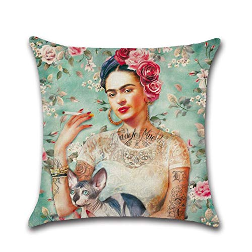 Ravcerol Dekokissen Kissenbezug Frida Kahlo Selbstporträt Baumwolle Leinen Dekokissenbezug Dekorative Dekokissenbezüge Mexican Style Pattern Car Cushion Cover, 17,7