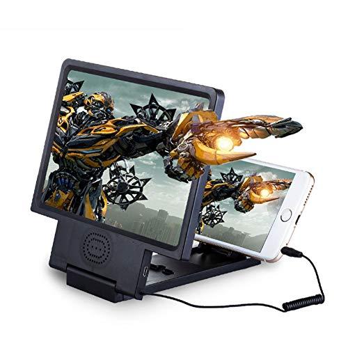 Myfei 3D HD mobiele telefoon display vergrootglas versterker mobiele telefoon versterker projector scherm met luidspreker voor iPhone en Android alle mobiele telefoons, zwart