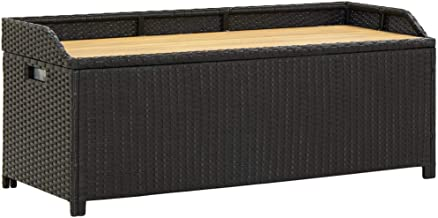 vidaXL Garden Storage Bench 120cm Poly Rattan Weather Resistant Seat Garden Toy Tool Shed Chest Container Box Patio Furnit...
