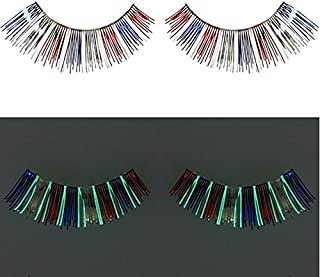 Zinkcolor Red Blue Foil False Eyelashes G241 Glow In The Dark Halloween Costume