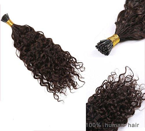 Remeehi I Tip Brazilian Hair Extensions Stick Tip Human Hair 1g/Strand 100S Fusion Hair Pre Bonded Curly Hair Piece(16' 1B#)