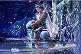 Acuario Pintura al óleo kit Pintura por Números niños para adultos lienzo Pintado con pinceles,resumen Arte Decoración del hogar de estar-40x50cm(sin marco)