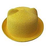 Gorra Pesca Beach Baby Hat Cap Niños Sombreros De Paja Transpirables Niños Orejas De Gato Sombrero para El Sol Niños Cute Solid Boy Girls Sombreros Verano-Amarillo_China