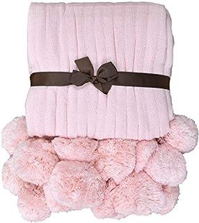 TEALP Manta Pom Pom Manta Blanca de Punto de algodón con Pompones (Rosa pálido, 40 '' x 60 '')
