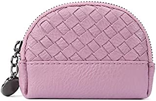 Brendacosmetic Fashion Pu Leather Zip Wallet Coin Purse Handbag ,Portable Weave Clutch Wallet Key Packet Pouch with Key Chain for Ladies Women(Pink£