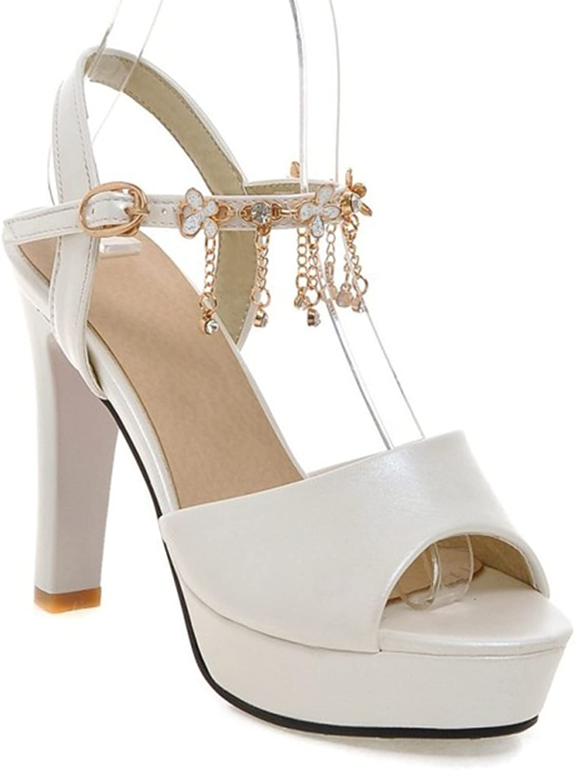 Colnsky Women's Rhinestone Chain Strappy Peep Toe Platform Sandals Chunky High Heel Summer shoes