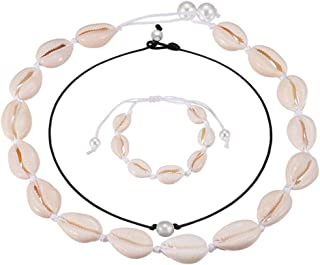 Natural Shell Necklaces with Pearl Handmade Cowrie Pearls Shell Choker Necklace Adjustable Rope Beach Conch Jewelry for Wo...