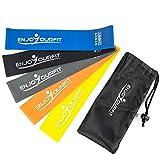 Bandas de resistencia elásticas cortas de 25 cm - látex natural - Fitness, Musculacion, tracción asistida - 5 bandas con bolsa de transporte