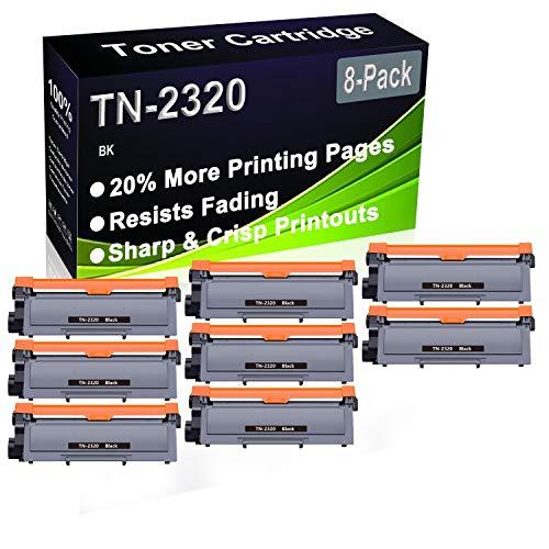 Paquete de 8 cartuchos de impresora compatibles de alto rendimiento TN2320 TN-2320 para impresoras Brother DCP-L2500D, DCP-L2520D, DCP-L2520DW, DCP-L2540DN