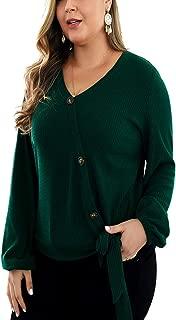 Ninmon Shares Women Oversized Button Down Long Bell Sleeve Hollow Blouse Tops
