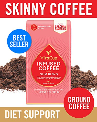 VitaCup Slim Blend Ground Coffee Bags 12oz | Diet & Metabolism | Garcinia & Ginseng | Keto & Paleo Friendly | Vegan | B Vitamins | for Drip Coffee Brewers and French Press