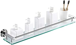 SOYYD Estanteria Baño Templado Estanteria Cristal Rectangular Repisa de baño para cosméticos y Otros Accesorios, Estante Esquina con barandilla para Ducha, Balda de almacenaje para baño,40cm