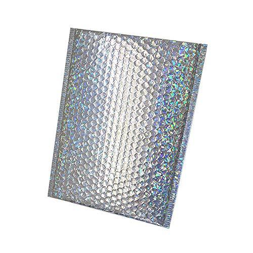 CHZIMADE 10 Stück Schaumstoff-Versandtaschen, bunte Laserfolie, verdickt, stoßfest, Anti-Sturz-Geschenkverpackung, Luftpolsterfolie, dunkle Schnalle, Weiß 15x13cm