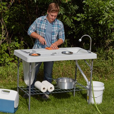 Kotula's Deluxe Fish Cleaning Camp Table with Flexible Faucet