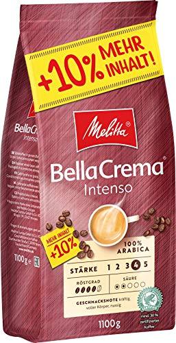 Melitta Ganze Kaffeebohnen, 100 % Arabica, starkes Aroma, intensiver Geschmack, Stärke 4, BellaCrema Intenso, 1100 g