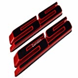 (Set of 2) Slant SS Grill Side Fender Trunk Emblem Badge Decal with Sticker for Chevy IMPALA COBALT Camaro 2010 2011 2012 2013 2014 2015 2016 2017 [red outlining black]