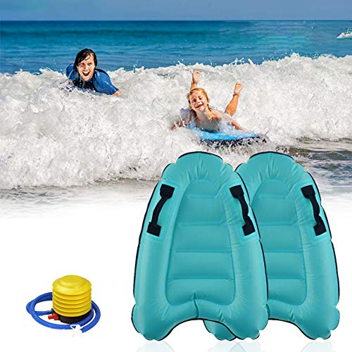 Inflatable Surfboard Portable Bodyboard with Handles Lightweight Soft Body...