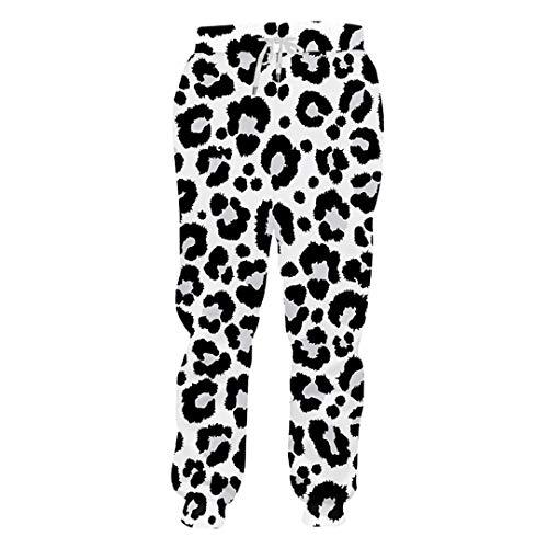 Unisex 3D-Druck Persönlichkeit kühle Schwarzweiß-Leopard-Druck-Rüttler Hosen Herren Jogginghose lässig Paar Hosen 3D Sweatpants XXL