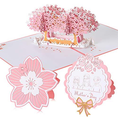 3 Sets Cherry Blossom 3D Pop Up Karte Pink Cherry Blossom Karte Muttertag Grußkarte Jahrestag Karte für Frau Freundin Mutter Hochzeit Karte Valentinstag Karte