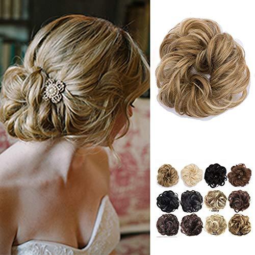 Haarteil Dutt Haargummi Synthetik Haare Extensions Gewellt günstig Haarverlängerung für Haarknoten Gummiband Hochsteckfrisuren Haarband Honigblond