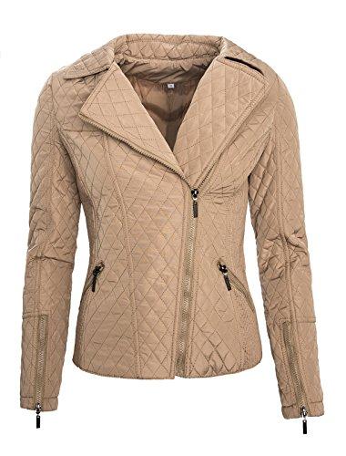 Rock Creek Selection Damen Übergangsjacke Stepp Jacke leicht Gesteppte Jacke Damenjacke D-64 [1316 D.Beige L]