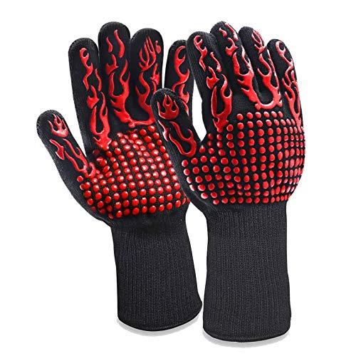 Fretrecy Grillhandschuhe Ofenhandschuhe Grill Lederhandschuhe Hitzebeständige bis zu 800 ° C Universalgröße Kochhandschuhe Backhandschuhe für BBQ Kochen Backen und Schweißen-Klassisch (Rot)