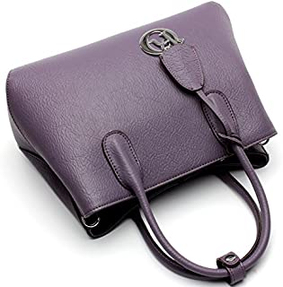 Leather 2018 New Women's Handbag Leather Female Leather Shoulder Wallet Handbag Wallet Waterproof (Color : Purple, Size : M)