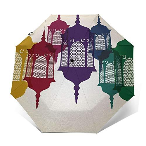 Regenschirm Taschenschirm Kompakter Falt-Regenschirm, Winddichter, Auf-Zu-Automatik, Verstärktes Dach, Ergonomischer Griff, Schirm-Tasche, Laterne 23