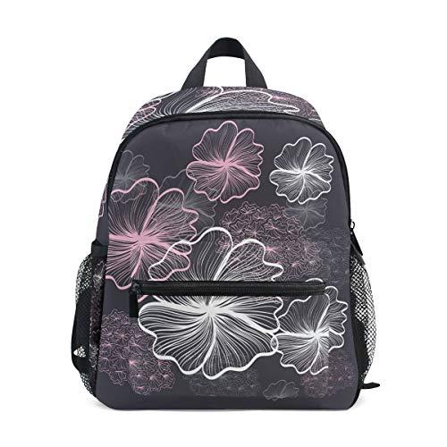 Leaf Flower Toddler Backpack Bookbag Mini Shoulder Bag for 1-6 Years Travel Boys Girls Kids with Chest Strap Clip Whistle